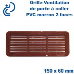 Grille de Ventilation de Porte 15x6 2 faces à coller PVC Marron