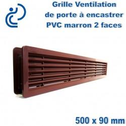 Grille de Ventilation de Porte 50x9 2 faces à encastrer PVC Marron