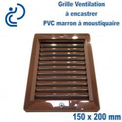 Grille de Ventilation PVC Marron Carrée à encastrer 15x20 avec cadre + moustiquaire