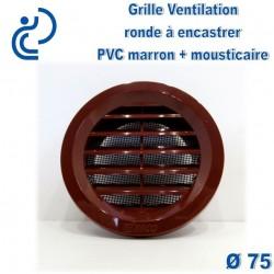 Grille de Ventilation Ronde D75 à encastrer PVC Marron avec moustiquaire
