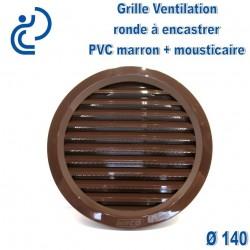 Grille de Ventilation Ronde D140 à encastrer PVC Marron avec moustiquaire