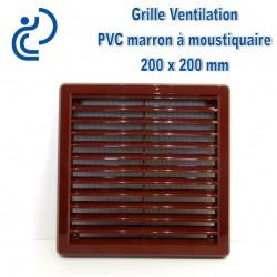 Grille de Ventilation Carrée PVC Marron 20x20 à moustiquaire