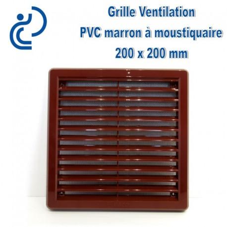 grille de ventilation avec moustiquaire en pvc marron 20x20. Black Bedroom Furniture Sets. Home Design Ideas