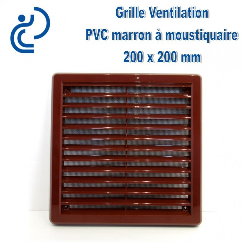 grille de ventilation avec moustiquaire en pvc marron 20x20. Black Bedroom Furniture Sets. Home Design Ideas