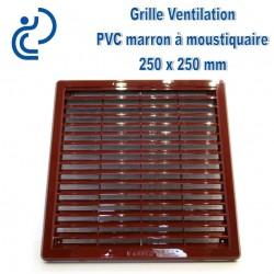 Grille de Ventilation Carrée PVC Marron 25x25 à moustiquaire