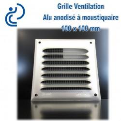 Grille de Ventilation Aluminium Anodisé Gris 10x10 à moustiquaire