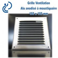 Grille de Ventilation Aluminium Anodisé Gris 15x15 à moustiquaire