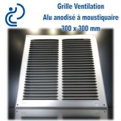 Grille de Ventilation Aluminium Anodisé Gris 30x30 à moustiquaire