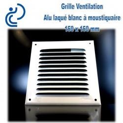Grille de Ventilation Aluminium laqué blanc 15x15 à moustiquaire