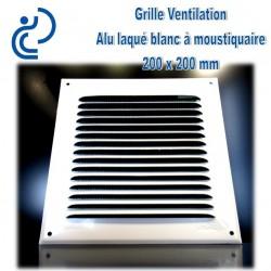 Grille de Ventilation Aluminium laqué blanc 20x20 à moustiquaire