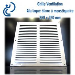 Grille de Ventilation Aluminium laqué blanc 25x25 à moustiquaire