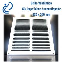 Grille de Ventilation Aluminium laqué blanc 30x30 à moustiquaire
