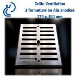 Grille de Ventilation à Fermeture en Aluminium Anodisé Gris 17x19