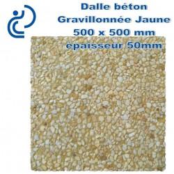 Dalle Béton Gravillonnée Jaune 500x500 ep 50 gros grain
