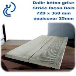 Dalle Béton moulée Striée Façon Bois 720x360mm ton brut épaisseur 25mm