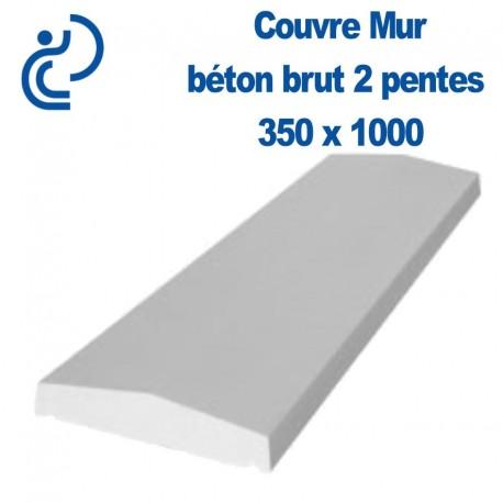 Couvre mur en b ton brut 2 pentes 350 x 1000mm for Epaisseur mini dalle beton exterieur