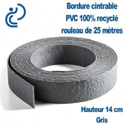 Bordure de Jardin Grise Cintrable H14cm PVC 100% recyclé (rouleau de 25ml)