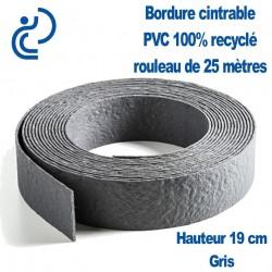 Bordure de Jardin Grise Cintrable H19cm PVC 100% recyclé (rouleau de 25ml)