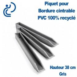 Piquet Gris en H pour Bordure de Jardin PVC 100% recyclé (longueur 38cm)