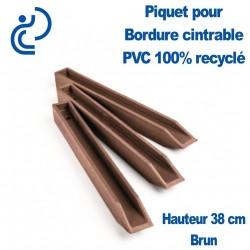 Piquet brun en H pour Bordure de Jardin PVC 100% recyclé (longueur 38cm)