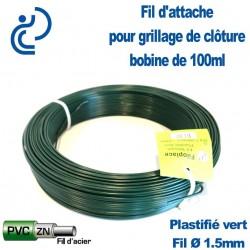 Fil d'Attache Plastifié Vert 1,5mm pour clôture grillagée (bobine 100ml)