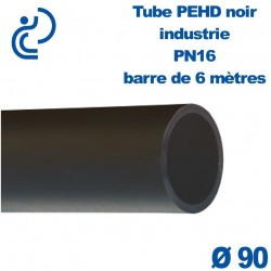 Tube PEHD noir industrie PN16 D90 barre de 6ml
