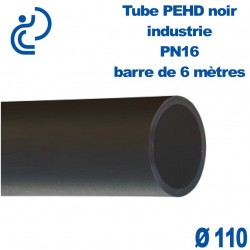 Tube PEHD noir industrie PN16 D110 barre de 6ml