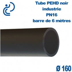 Tube PEHD noir industrie PN16 D160 barre de 6ml