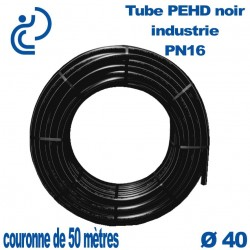 Tube PEHD noir industrie PN16 D40 couronne de 50ml