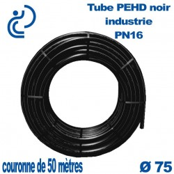 Tube PEHD noir industrie PN16 D75 couronne de 50ml