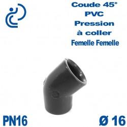 Coude 45° PVC Pression D16 PN16 à coller
