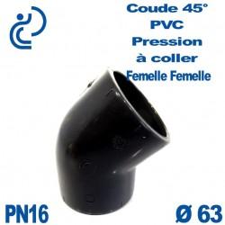 Coude 45° PVC Pression D63 PN16 à coller