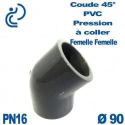 Coude 45° PVC Pression D90 PN16 à coller
