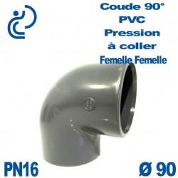 Coude 90° PVC Pression D90 PN16 à coller