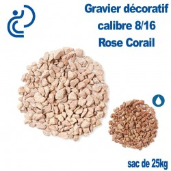 GRAVIER MARBRE ROSE CORAIL 8/16 sac de 25kg