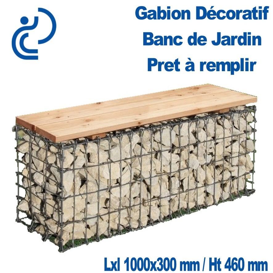 Gabion Decoratif Banc De Jardin 100x30x46