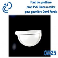 FOND DE GOUTTIERE DROIT EN PVC BLANC POUR GD25