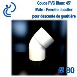 COUDE GOUTTIERE PVC BLANC 45° mâle femelle