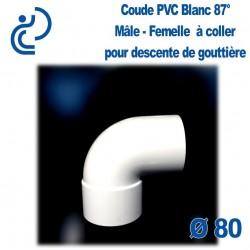 COUDE GOUTTIERE PVC BLANC 87° mâle femelle