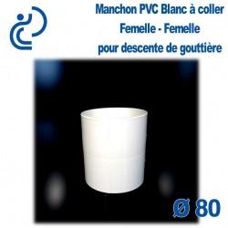 MANCHON GOUTTIERE PVC BLANC D80 mâle femelle
