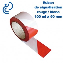 RUBAN DE SIGNALISATION ROUGE-BLANC 100Mx50MM