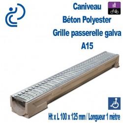 Caniveau Béton Polyester Grille Passerelle Galva 100x1000