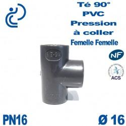 Té ( culotte ) 90° PVC Pression D16 PN16 à coller