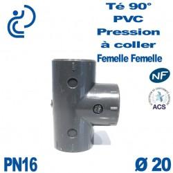 Té ( culotte ) 90° PVC Pression D20 PN16 à coller