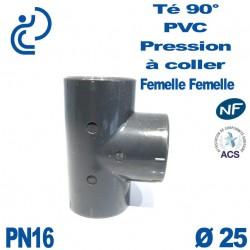 Té ( culotte ) 90° PVC Pression D25 PN16 à coller
