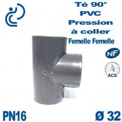 Té ( culotte ) 90° PVC Pression D32 PN16 à coller