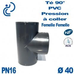 Té ( culotte ) 90° PVC Pression D40 PN16 à coller