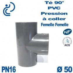 Té ( culotte ) 90° PVC Pression D50 PN16 à coller