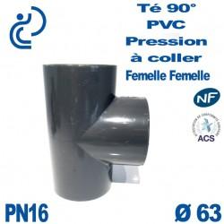 Té ( culotte ) 90° PVC Pression D63 PN16 à coller