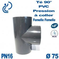 Té ( culotte ) 90° PVC Pression D75 PN16 à coller